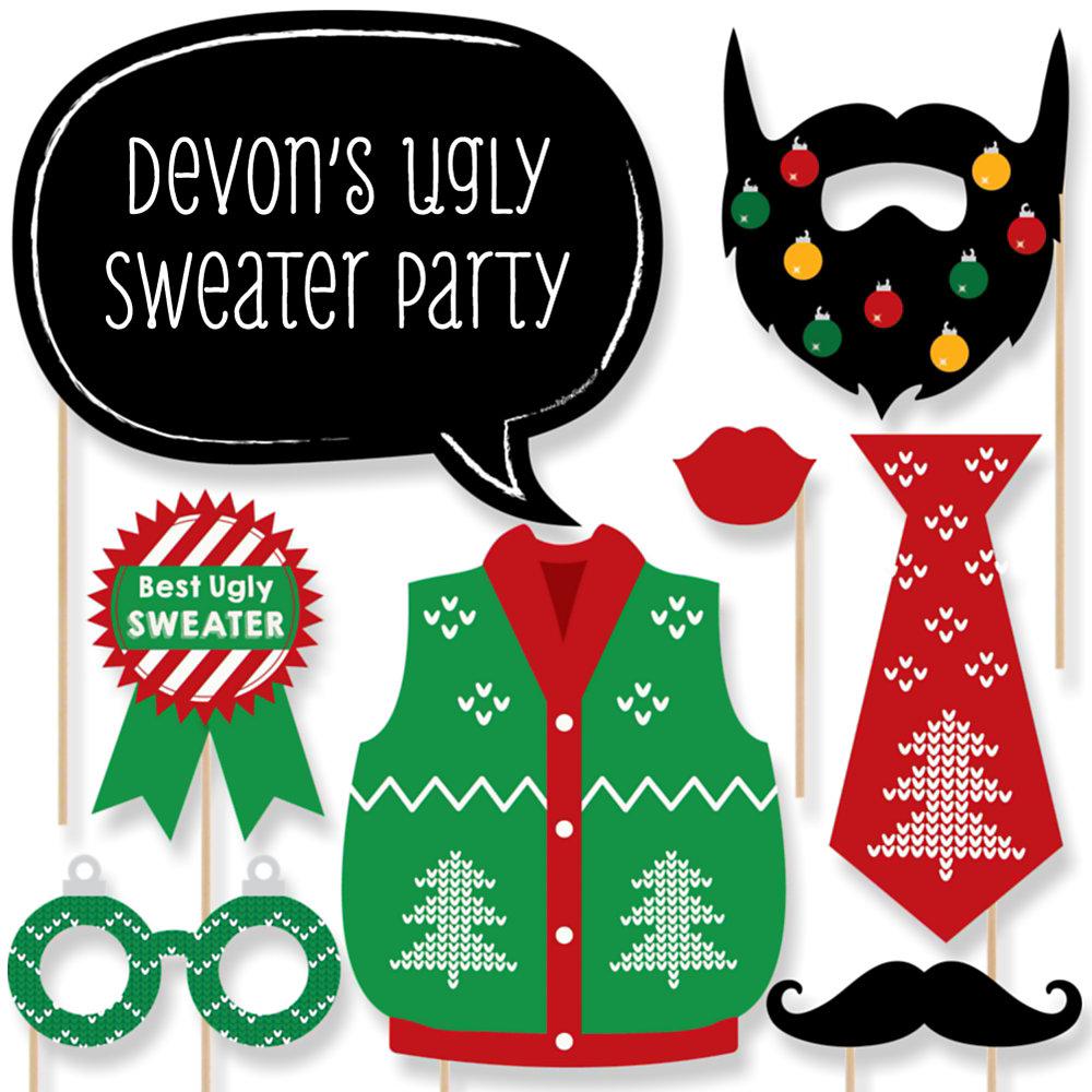 Ugly sweater holiday party theme bigdotofhappiness ugly sweater holiday christmas party photo booth props kit 20 count solutioingenieria Image collections