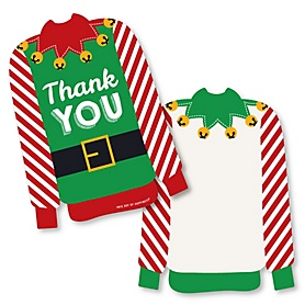 Ugly Sweater - Shaped Thank You Cards - Holiday and Christmas Party Thank You Note Cards with Envelopes - Set of 12