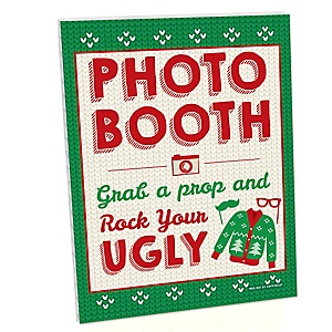 Ugly Sweater Photo Booth Sign - Holiday and Christmas Party Decorations - Printed on Sturdy Plastic Material - 10.5 x 13.75 inches - Sign with Stand - 1 Piece