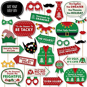 Ugly Sweater - Holiday and Christmas Party DIY Photo Booth Decor and Accessories - Picture Perfect Props Kit - 30 Pieces
