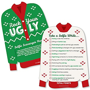Ugly Sweater - Selfie Scavenger Hunt - Holiday & Christmas Party Game - Set of 12