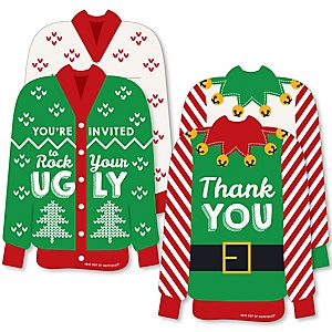 Ugly Sweater - 20 Shaped Fill-In Invitations and 20 Shaped Thank You Cards Kit - Holiday and Christmas Party Stationery Kit - 40 Pack