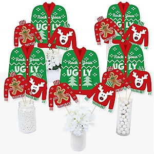 Ugly Sweater - Holiday & Christmas Party Centerpiece Sticks - Table Toppers - Set of 15