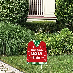 Ugly Sweater - Rock Your Ugly Here Outdoor Lawn Sign - Holiday and Christmas Party Yard Sign - 1 Piece
