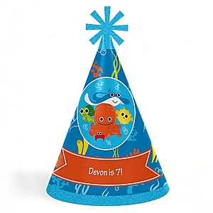 Under The Sea Critters - Personalized Cone Happy Birthday Party Hats for Kids and Adults - Set of 8 (Standard Size)