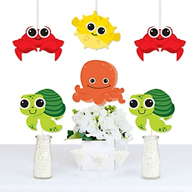 Under The Sea Critters - Octopus, Pufferfish, Sea Turtle and Crab Decorations DIY Birthday Party or Baby Shower Essentials - Set of 20