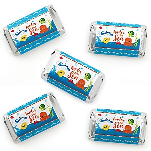 Under The Sea Critters - Mini Candy Bar Wrapper Stickers - Baby Shower or Birthday Party Small Favors - 40 Count