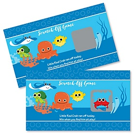 Under The Sea Critters - Baby Shower Game Scratch Off Cards - 22 ct