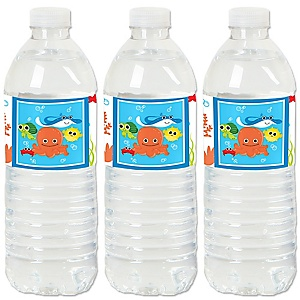 Under The Sea Critters - Baby Shower or Birthday Party Water Bottle Sticker Labels - Set of 20