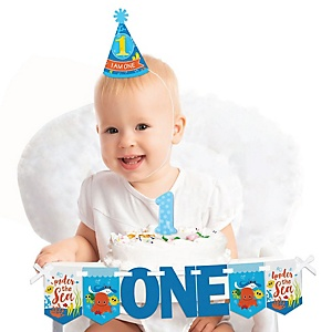 Under The Sea Critters 1st Birthday - First Birthday Boy or Girl Smash Cake Decorating Kit - High Chair Decorations