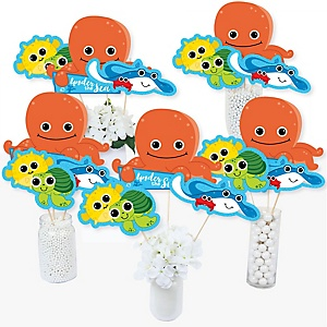 Under The Sea Critters - Baby Shower or Birthday Party Centerpiece Sticks - Table Toppers - Set of 15