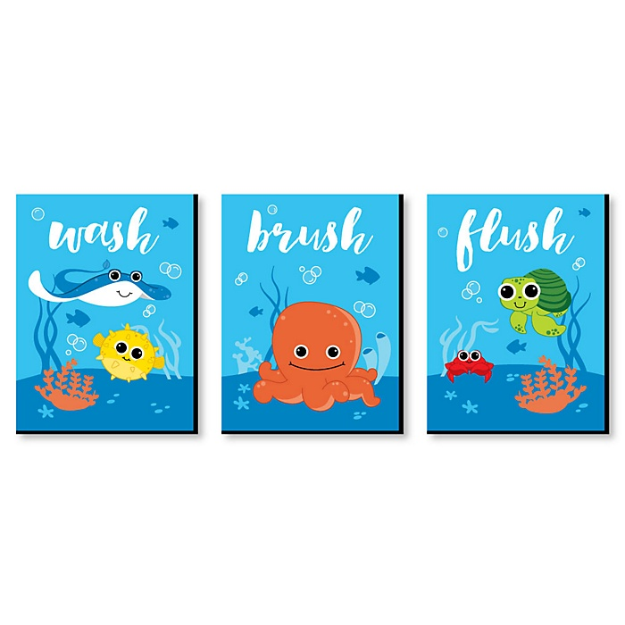 Under The Sea Critters - Kids Bathroom Rules Wall Art - 7.5 x 10 inches - Set of 3 Signs - Wash, Brush, Flush