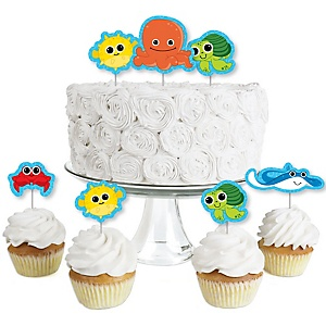 Under The Sea Critters - Dessert Cupcake Toppers - Baby Shower or Birthday Party Clear Treat Picks - Set of 24