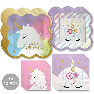 Unicorn with Gold Foil - Magical Rainbow Unicorn Baby Shower or Birthday Party Tableware Plates and Napkins - Bundle for 16