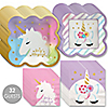 Unicorn with Gold Foil - Magical Rainbow Unicorn Baby Shower or Birthday Party Tableware Plates and Napkins - Bundle for 32