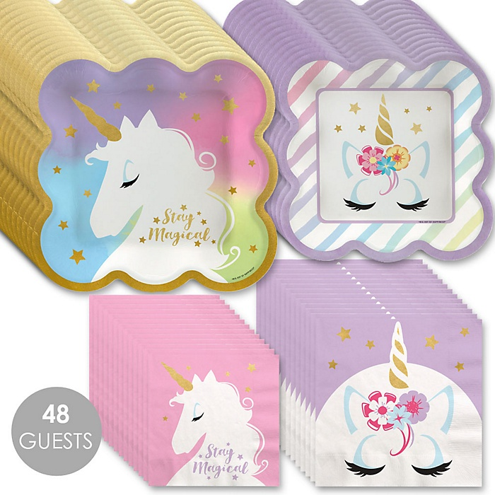 Unicorn with Gold Foil - Magical Rainbow Unicorn Baby Shower or Birthday Party Tableware Plates and Napkins - Bundle for 48
