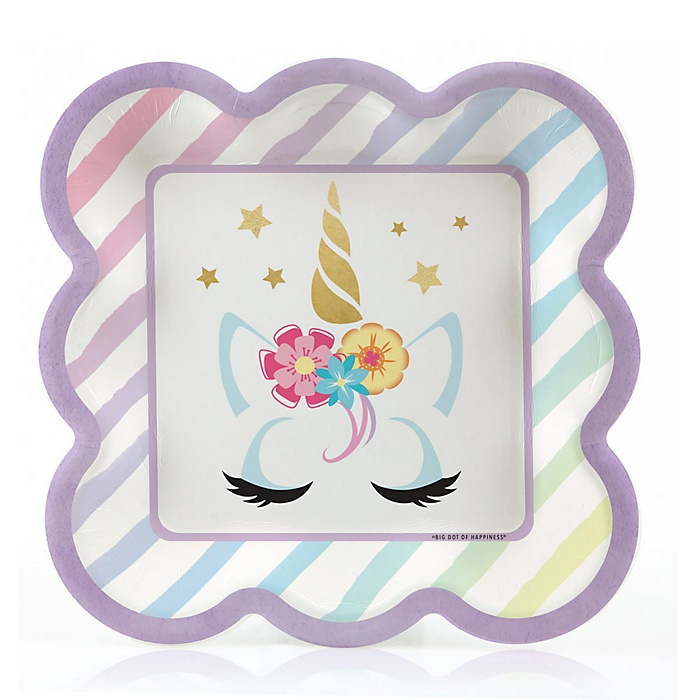 Unicorn with Gold Foil - Magical Rainbow Unicorn Baby Shower or Birthday Party Dessert Plates  - 16 ct