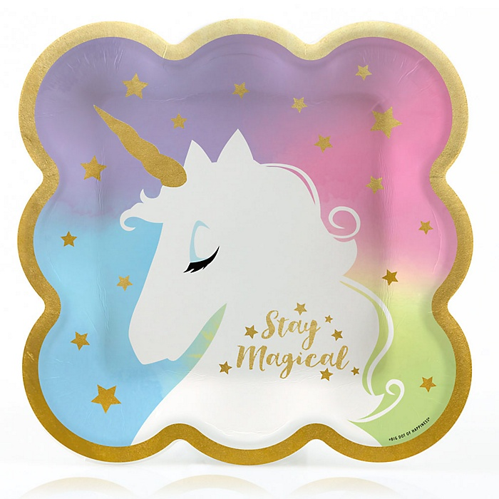 Unicorn with Gold Foil - Magical Rainbow Unicorn Baby Shower or Birthday Party Dinner Plates - 16 ct