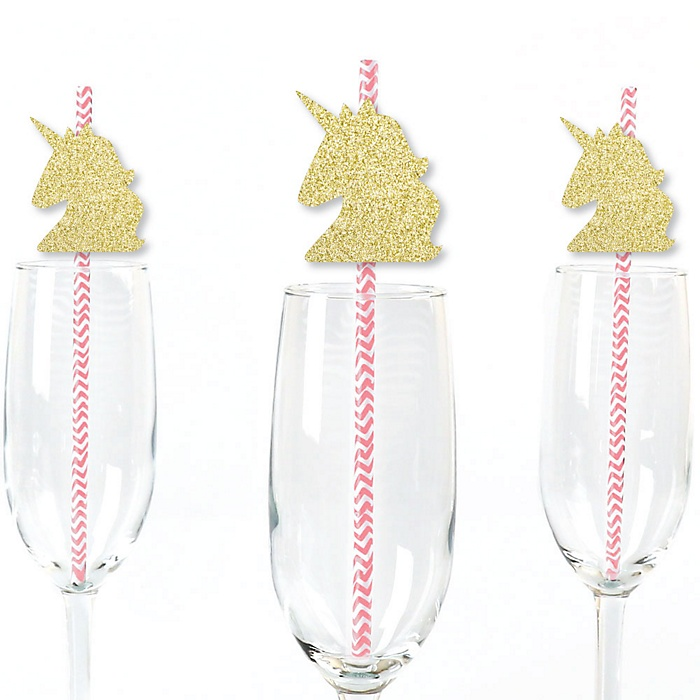 Gold Glitter Unicorn Party Straws - No-Mess Real Gold Glitter Cut-Outs and Decorative Magical Unicorn Baby Shower or Birthday Party Paper Straws - Set of 24
