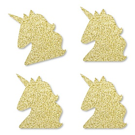Gold Glitter Unicorn - No-Mess Real Gold Glitter Cut-Outs - Magical Unicorn Baby Shower or Birthday Party Confetti - Set of 24