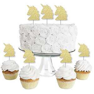 Gold Glitter Unicorn - No-Mess Real Gold Glitter Dessert Cupcake Toppers - Magical Unicorn Baby Shower or Birthday Party Clear Treat Picks - Set of 24