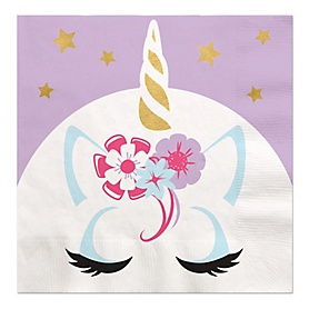 Unicorn with Gold Foil - Magical Rainbow Unicorn Baby Shower or Birthday Party Luncheon Napkins - 16 ct