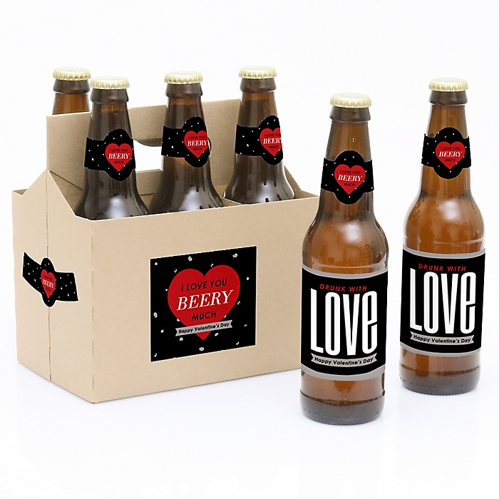 Valentine's Day - Valentine's Day - Decorations for Women and Men - 6 Beer Bottle Labels and 1 Carrier