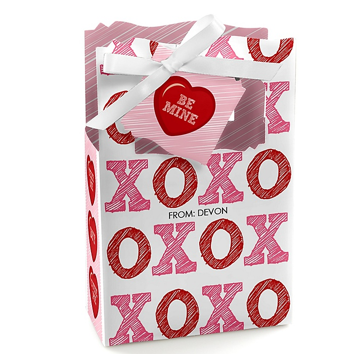 Valentine's Day Conversation Hearts - Personalized Valentine's Day Party Favor Boxes - Set of 12