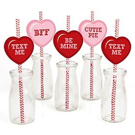 Conversation Hearts - Paper Straw Decor - Valentine's Day Party Striped Decorative Straws - Set of 24