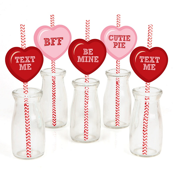 Valentine's Day Conversation Hearts - Paper Straw Decor - Valentine's Day Party Striped Decorative Straws - Set of 24