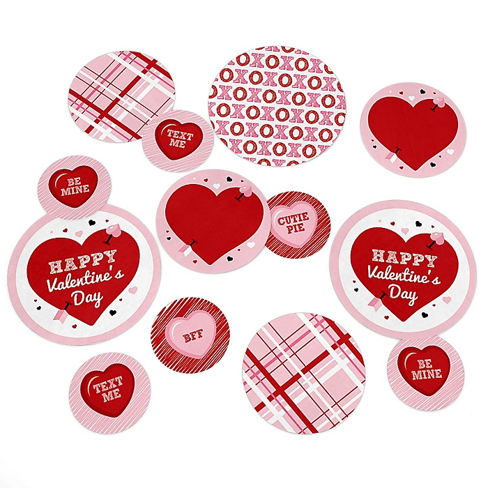 Conversation Hearts - Valentine's Day Party Giant Circle Confetti - Valentine's Day Party Decorations - Large Confetti 27 Count