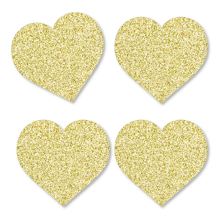 Gold Glitter Hearts - No-Mess Real Gold Glitter Cut-Outs - Valentine's Day Party Confetti - Set of 24
