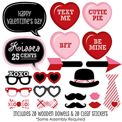 Valentines Day 20 Piece Valentines Day Party Photo Booth Props