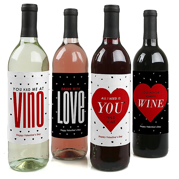 Valentine's Day - Valentine's Day Decorations for Women and Men - Wine Bottle Labels - Set of 4