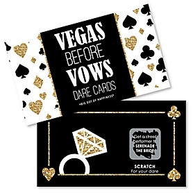 Vegas Before Vows - Las Vegas Bridal Shower or Bachelorette Party Game Scratch Off Dare Cards - 22 ct