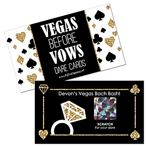 Vegas Before Vows - Personalized Las Vegas Bridal Shower or Bachelorette Party Game Scratch Off Dare Cards - 22 ct