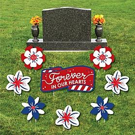 Veteran Memorial - Yard Sign & Outdoor Lawn Cemetery Grave Decorations - Memorial Cemetery Yard Signs - Set of 8