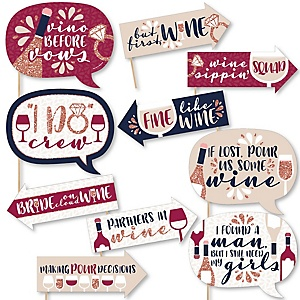 Funny Vino Before Vows - 10 Piece Winery Bachelorette Party Photo Booth Props Kit