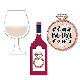 Vino Before Vows - DIY Shaped Winery Bridal Shower or Bachelorette Party Cut-Outs - 24 ct