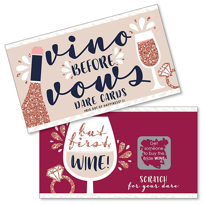Vino Before Vows - Winery Bridal Shower or Bachelorette Party Game Scratch Off Dare Cards - 22 Count