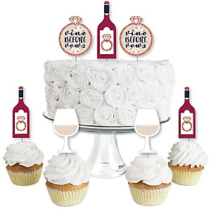 Vino Before Vows - Dessert Cupcake Toppers - Winery Bridal Shower or Bachelorette Party Clear Treat Picks - Set of 24