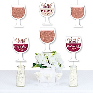 Vino Before Vows - Wine Glass Decorations DIY Winery Bridal Shower or Bachelorette Party Essentials - Set of 20