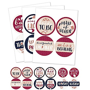 Vino Before Vows - Winery Bridal Shower or Bachelorette Party Funny Name Tags - Party Badges Sticker Set of 12