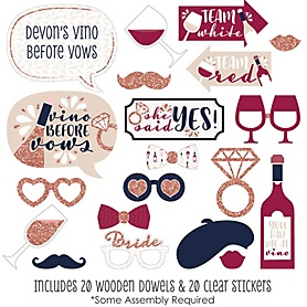 Vino Before Vows - Winery Bridal Shower or Bachelorette Party Photo Booth Props Kit - 20 Count