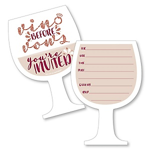 Vino Before Vows - Shaped Fill-In Invitations - Winery Bridal Shower or Bachelorette Party Invitation Cards with Envelopes - Set of 12