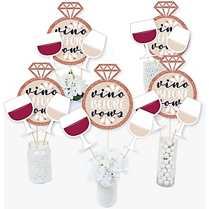 Vino Before Vows - Winery Bridal Shower or Bachelorette Party Centerpiece Sticks - Table Toppers - Set of 15