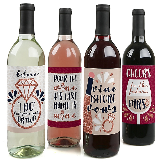 Vino Before Vows - Winery Bridal Shower or Bachelorette Party Decorations for Women and Men - Wine Bottle Label Stickers - Set of 4