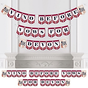 Vino Before Vows - Personalized Winery Bridal Shower or Bachelorette Party Bunting Banner and Decorations