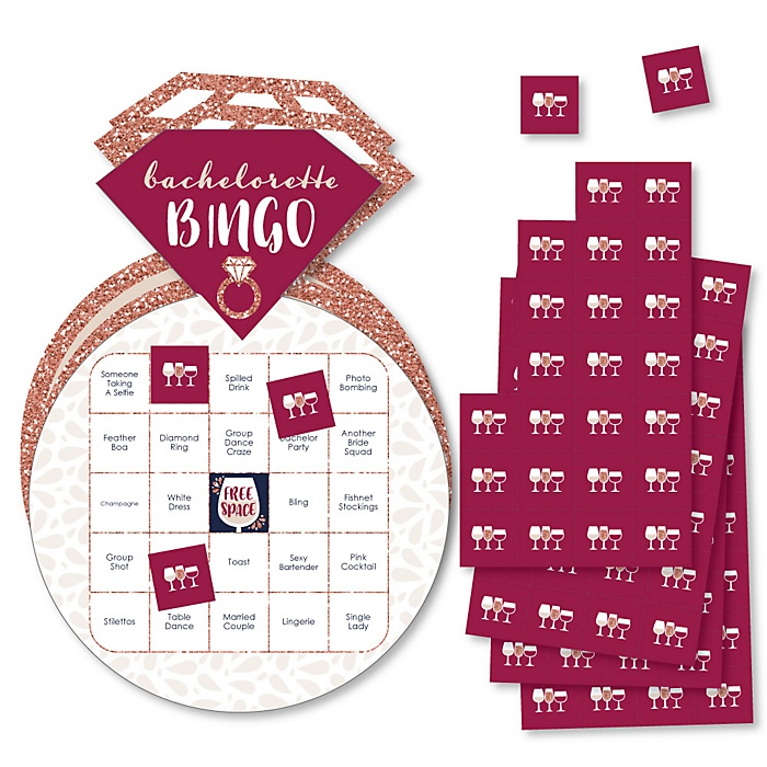 Vino Before Vows - Bar Bingo Cards and Markers - Winery Bridal Shower or Bachelorette Party Shaped Bingo Game - Set of 18