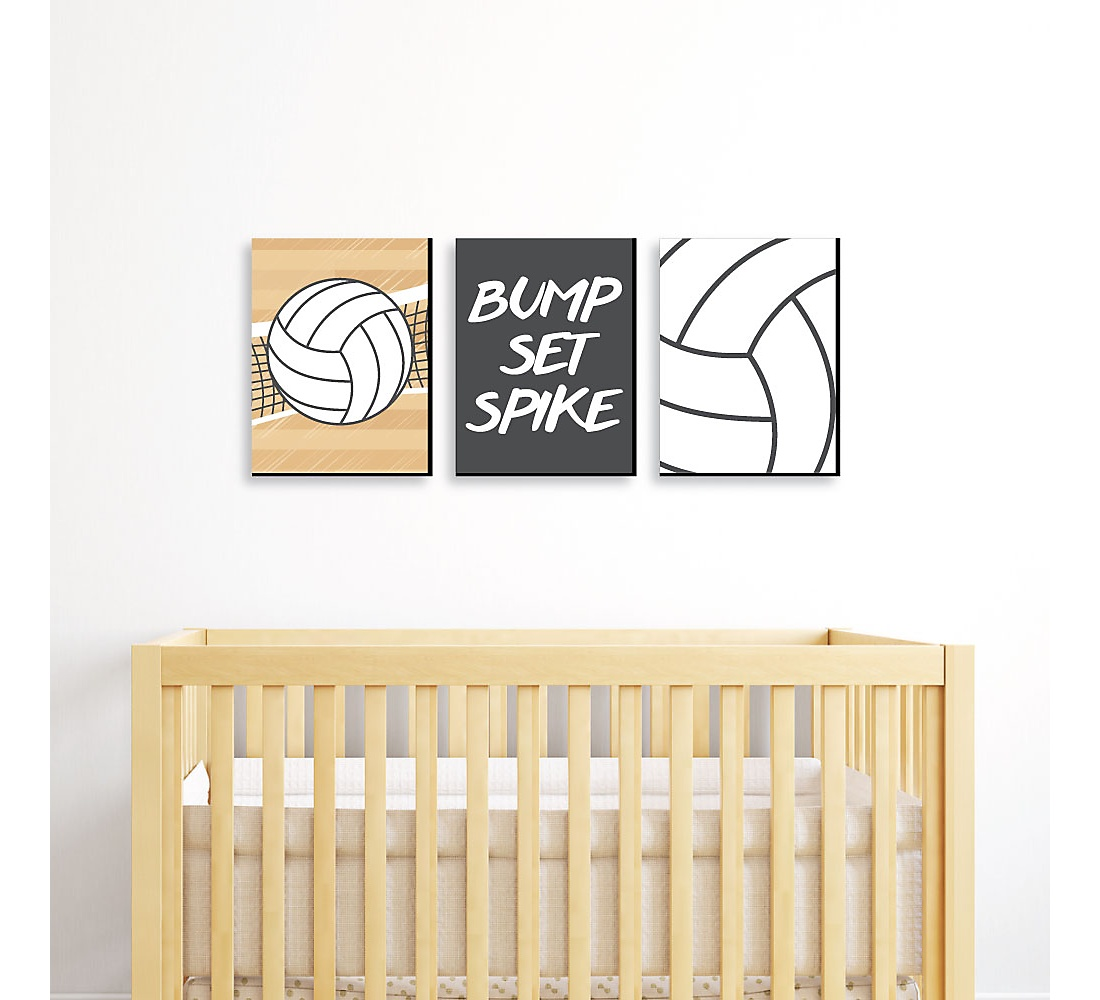 P Set Spike Volleyball Sports Themed Nursery Wall Art Kids Room Decor And Home Decorations 7 5 X 10 Inches Of 3 Prints